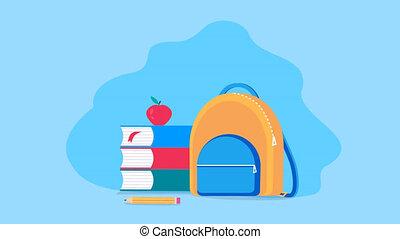 animation, articles, fournitures, en mouvement, pomme, école, sac à dos, arrière-plan., crayon, livres, bleu