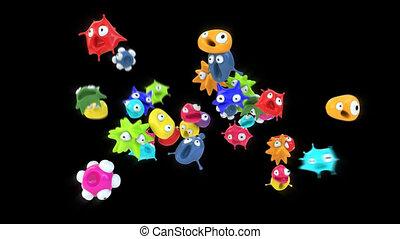 animation, -, bactérie, 3d
