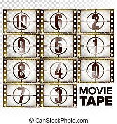 animation., bas, nombres, monochrome, dénombrement, pellicule, début, -, isolé, compte rebours, 0, strip., vector., retro, brun, éléments, grunge, illustration, fond, transparent, 10, film., cinema., minuteur