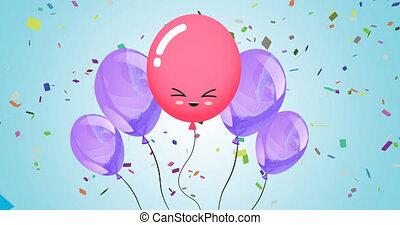 animation, bleu, ballons, pourpre, arrière-plan rose, confetti