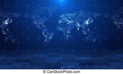 animation., carte, mondiale, connexion, réseau global, connexions, boucle, données