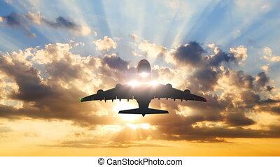 animation., chronocinématographie, hd, 4k, fond, ultra, 3d, avion, contre, beau, prend, sunset., 3840x2160, fermé
