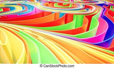 animation.., coloré, motifs, gradient, vague, mouvement, arrière-plan., avenir, géométrique, rendre, 3d