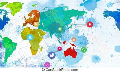 animation, connexions, carte, mondiale, réseau, sur