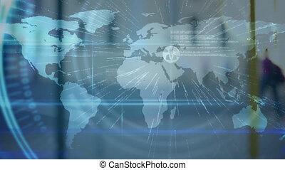 animation, connexions, mondiale, réseau, sur, carte
