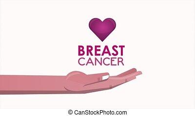 animation, conscience sein, levage, cancer, coeur, main