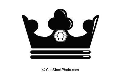 animation, couronne, icône, acier
