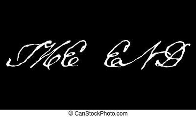 animation, dessiné, texte, fin, main