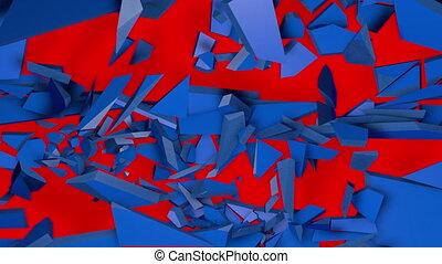 animation, destruction, 3d, bleu, surface.