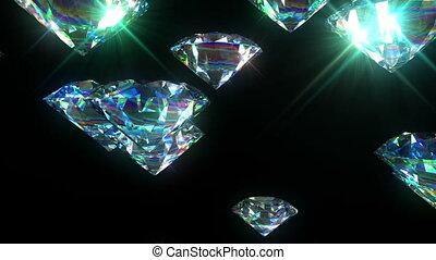 animation., diamants, clair, fait boucle