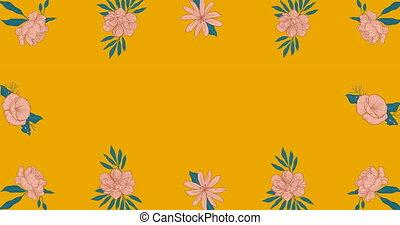 animation, en mouvement, fleurs, orange, espace, hypnotique, copie, mouvement, fond
