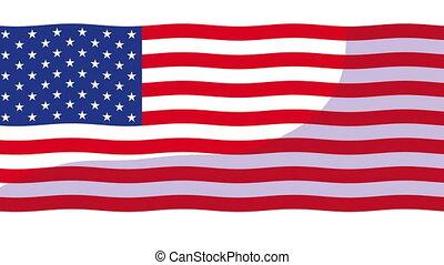 animation, etats unis, amérique, drapeau