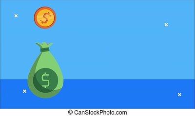 animation, financier, argent, pièces, sac