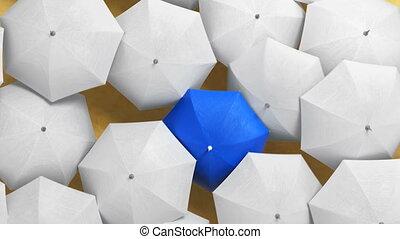 animation, foule, blanc, 3d, parapluies, dehors, bleu, parapluie, marche dans eau, par, debout, plage, concept., couler, beau