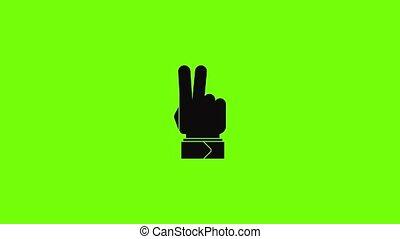 animation, hé, icône, main