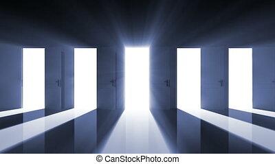 animation, hd, droit, central, ouverture, 3d, ultra, clair, en mouvement, doorway., salle, portes, light., 4k, 3840x2160., beau, choix, mask., sombre, concept., alpha