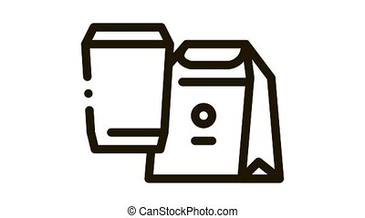 animation, icône, boisson, nourriture, paquet