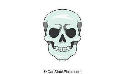 animation, icône, crâne