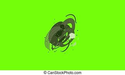 animation, icône, dégonfler, pneu