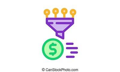 animation, icône, financier, rassemblement, entonnoir, information