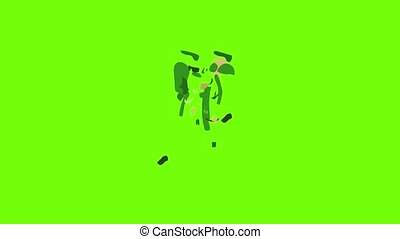 animation, icône, pilote, soldat