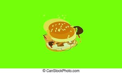 animation, icône, savoureux, hamburger