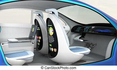 animation, intérieur voiture, 3d