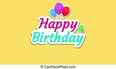 animation, jaune, vidéo, anniversaire, heureux, texte, fond, ballons, 4k