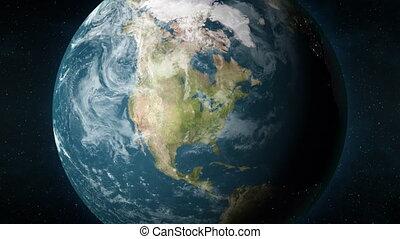 animation, la terre, chicago, planète, bourdonner, illinois, usa.