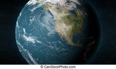 animation, los, la terre, planète, bourdonner, angeles, californie, usa.