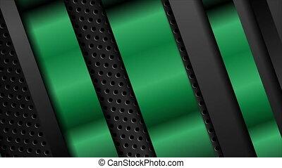 animation, métal, arrière-plan vert, vidéo, raies, perforé, sombre, noir