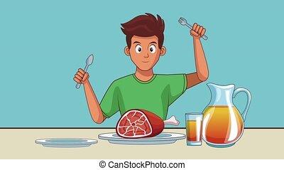 animation, manger, jeune, hd, homme