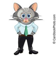 animation, mignon, caractère, illustration, chat, vecteur, dessin animé