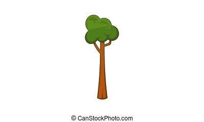 animation, mince, icône, arbre