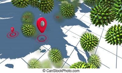 animation, mondiale, virus, vert, couronne, faites correspondre arrière plan
