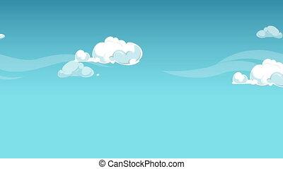 animation, nuages, dessin animé, boucle, seamless