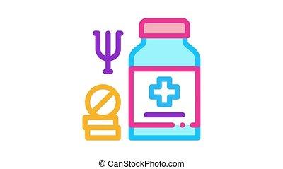 animation, pilules, mental, icône, monde médical, désordre