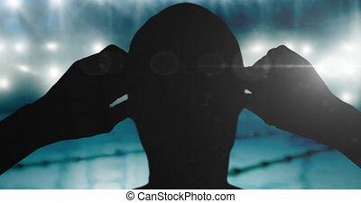 animation, piscine, nageur, projecteurs, natation, sur, silhouette