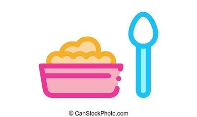 animation, plaque, nourriture, icône, cuillère