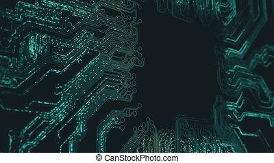 animation., résumé, circuit électronique