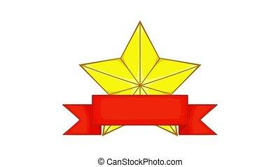 animation, ruban or, étoile, récompense, icône