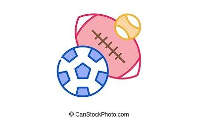 animation, rugby, icône, football, base-ball