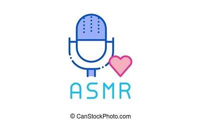 animation, son, icône, microphone, asmr
