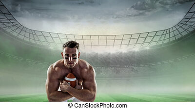 animation, stade, rugby, tenue, joueur, sports, sur, balle