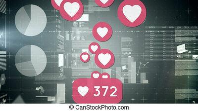 animation, statistiques, icônes, sur