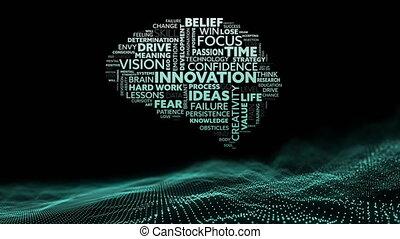 animation, sur, foyer, vert, idée, humain, texte, maille, cerveau, innovation, onduler