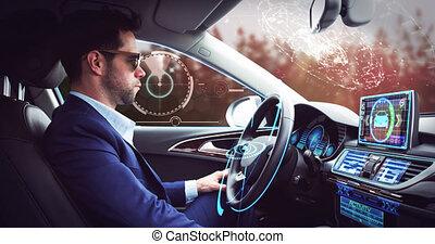 animation, sur, voiture, interface, homme affaires, self-driving, numérique