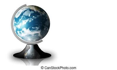animation, tourner, globe, stand