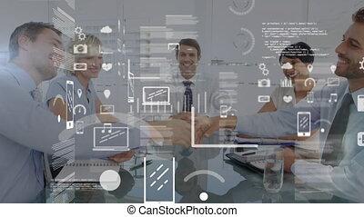 animation, traitement, gens, données, fond, business