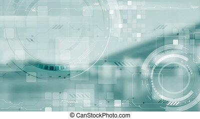 animation, vidéo, technologie, futuriste, bleu leger